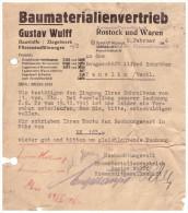 Gustav Wulff In Rostock Und Waren , 1946 , Bau - Ziegelei , Bau , Mecklenburg , Post !!! - Covers & Documents