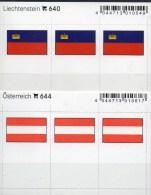 2x3 Flaggen-Sticker In Farbe Österreich+ Liechtenstein 4€ Kennzeichnung Alben Karten Sammlung LINDNER 640+644 Austria FL - Zubehör