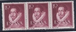 ESPAÑA 1950/53 - Edifil #1072 MNH ** - Variedad: Raya Vertical Blanca En El Sello Del Centro - 1951-60 Nuevos & Fijasellos