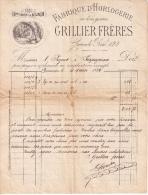 Facture 1884, Fabrique D'horlogerie Grillier Frères, Besançon. - 1800 – 1899