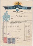 INVOICE,FRITZ SCHMIDT,MEDIAS, FROM PAINT COMPANY TO GLASS COMPANY, 3 REVENUE STAMPS, 1937, ROMANIA - Otros