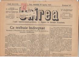 UNIREA NEWSPAPER, CHURCH- POLITIC NEWSPAPER, KING FERDINAND STAMP, 1927, ROMANIA - Revues & Journaux