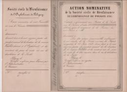 Action Nominative De La Société Civile De Bienfaisance De L´Orphelinat De Poligny ( Jura) - Aandelen