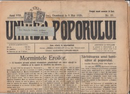 UNIREA POPORULUI NEWSPAPER, WEEKLY NEWSPAPER, KING FERDINAND STAMPS, 1926, ROMANIA - Revues & Journaux
