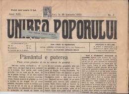 UNIREA POPORULUI NEWSPAPER, WEEKLY CHURCH NEWSPAPER, KING MICHAEL STAMPS, 1931, ROMANIA - Revues & Journaux