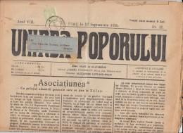 UNIREA POPORULUI NEWSPAPER, WEEKLY CHURCH NEWSPAPER, KING FERDINAND STAMPS, 1926, ROMANIA - Magazines & Newspapers
