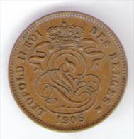 BELGIQUE / BELGIO - 2 CENTIMES (1905) LEOPOLD II - 1865-1909: Leopoldo II