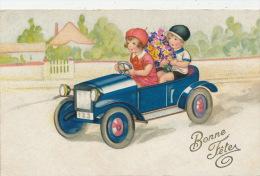 """ENFANTS -  Jolie Carte Fantaisie Enfants Dans Automobile Avec Fleurs """"Bonne Fête"""" - Dessins D'enfants"""