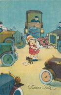 """ENFANTS -  Jolie Carte Fantaisie Fillette Au Milieu D'automobiles Avec Fleurs """"Bonne Fête"""" - Dessins D'enfants"""