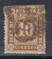 Sello Impresos 10 Cts. Isabel, Cifras 1867, Fechador MADRID Franco, Num 94 º - 1872-73 Reino: Amadeo I