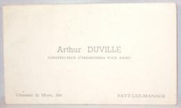 Carte De Visite. Fayt-lez-Manage. Constructeur D'Ebénisteries Pour Radio. A.Duville. - Cartes De Visite