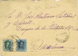 8040. Carta SANTA Mª QUERALT (Barcelona) 1924. Fechador BERGA - 1889-1931 Royaume: Alphonse XIII