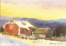 Peinture Eva Von Hanno 1992 / Norway, Norvège / Winter Evening / Soir D'hiver / Voeux Unicef - Peintures & Tableaux