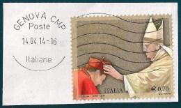 ITALIA REPUBBLICA CONCISTORO PAPA FRANCESCO 0,70 2014 USATO SU FRAMMENTO - 6. 1946-.. Repubblica