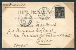 1900 Algeria Alger Bourse - Cairo Egypt Geiser Postcarte  / Christmas Day Caire Postmark - Sage