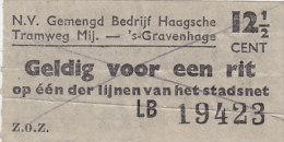 Ticket: Für Tram, Straßenbahn In Den Haag (´s-Gravenhage)  12 1/2 Cent, 1947 - Strassenbahnen