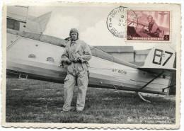 BELGIQUE CARTE MAXIMUM LEOPOLD III AVIATEUR EMISE PAR LE COMITE NATIONAL DE PROPAGANDE AERONAUTIQUE - 1934-1951