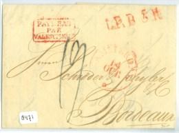 E.o. HANDGESCHREVEN BRIEF Uit 1829  Van AMSTERDAM Naar   BORDEAUX FRANKRIJK Stempel L.P.B.5.R. + VALENCIENNES (8471) - ...-1852 Préphilatélie