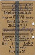Fahrkarte, Ticket, Billet: EISENBAHN Arbeiterwochenkarte Kirchheim (Neckar) - Stuttgart 1949, So. Bis Sa.,3. Kl. 4,40 DM - Abonnements Hebdomadaires & Mensuels