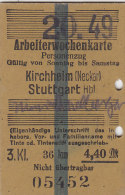 Fahrkarte, Ticket, Billet: EISENBAHN Arbeiterwochenkarte Kirchheim (Neckar) - Stuttgart 1949, So. Bis Sa.,3. Kl. 4,40 DM - Wochen- U. Monatsausweise