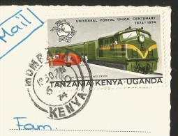 KENYA Mombasa East African Game Hippopotamus Stamp Mail Train Tanzania Uganda 1974 - Hippopotames