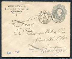 1909 Chile Valparaiso - Santiago Arturo Schmidt Columbus Stationery Ganzsache - Chile