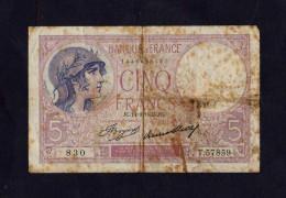 France -  BILLET DE 5F VIOLET DU 14/09/1933   - T.57859 - N°: 830 - 1871-1952 Anciens Francs Circulés Au XXème
