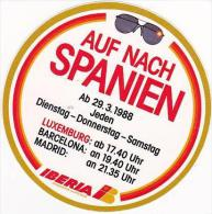 IBERIA AIRLINES VINTAGE LUGGAGE LABEL - Baggage Labels & Tags