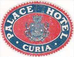 ITALY CURIA PALACE HOTEL VINTAGE LUGGAGE LABEL