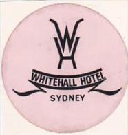 AUSTRALIA SYDNEY WHITEHALL HOTEL VINTAGE LUGGAGE LABEL