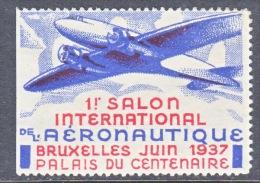 BELGIUM  AEROPHILATELIC  VIGNETTE  BRUXELLES  1937   * - Airmail