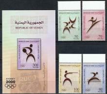 YEMEN 2000 SYDNEY OLYMPICS SET AND S/S GETTING BETTER VF MNH SC# 741-745 - Ete 2000: Sydney