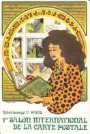 CPSM 1 ER SALON INTERNATIONAL DE LA CARTE POSTALE HOTEL GEORGES V PARIS DESSIN PHILIPPE FIX 1975 PEU COURANTE - Bourses & Salons De Collections