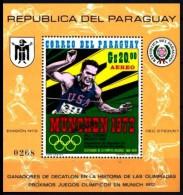 Paraguay: 'Bill Toomey - Zehnkämpfer, 1971' / 'Champion In Decathlon', Mi. BL 158 [Muestra - Specimen - Muster] ** - Verano 1968: México