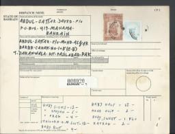 1976-80 Sheik Isa 3d Buff & Brn, Scott # 240, 50% Off Catalogue Value,  Bahrain Parcel Receipt Cover Sent To Pakistan - Bahrain (1965-...)