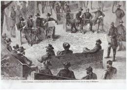 GRAVURE D Epoque   1864 AMERICAN CIVIL WAR   Guerre De Secession   CONSEIL DE GUERRE PRES  MASSAPONAX - Vecchi Documenti