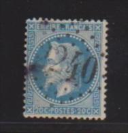 20 Centimes Bleu //N 29  //  Cachet 2240  //  Marseille - 1863-1870 Napoléon III. Laure