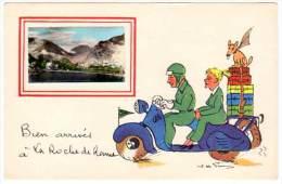 BIen Arrivés à La Roche De Rame (scooter, Vacances, Signée J. De Preissac)(asi-12872) - Autres Communes