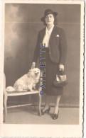 Femme & Petit Chien 13x8cm    Photo  Ancienne - Photos