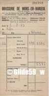 Facture N° 246918 - BRASSERIE DE MONS-EN-BAROEUL à Mr LEFER à Estaires Le 09-08-1963 - Levensmiddelen
