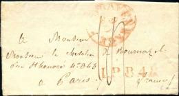 """LAC, La Haye (Pays Bas) -> Paris (1833) + """"L.P.B.4.R"""" En Rouge + Taxe 12 - Poststempel (Briefe)"""