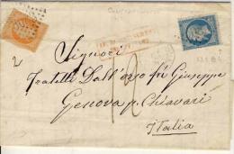 """TURQUIE, LAC, Tàd Constantinople  + GC 5083 Sur N° 22 + 23 + """"Affran Insuf"""" Rouge + Taxe 12 (2ème éch) Pour ITALIE - 1862 Napoléon III"""