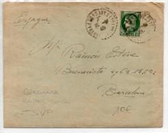 1940 - ENVELOPPE De CORSAVY (PYRENEES ORIENTALES) Pour BARCELONA Avec CENSURE AU DOS - Marcas De Censura Nacional