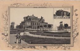 Stich Ansicht Dresden Königliches Hoftheater Semperoper Albert Theater Alberttheater Ca. 21 X 13 Cm - Lithographien