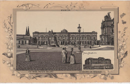 Stich Ansicht Dresden Museum Zwinger Finanzministerium Ca. 21 X 13 Cm - Lithographien