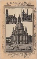 Stich Ansicht Dresden Alte Frauenkirche Neumarkt Kreuzkirche Wettin Obelisk Ca. 21 X 13 Cm - Lithographien