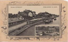 Stich Ansicht Dresden Helbigs Restaurant Etablissement Bellevue Jägerkaserne Albertbrücke Sachsenplatz  Ca. 21 X 13 Cm - Lithographien