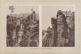 Stich Ansicht Rathen Basteibrücke Und Basteifelsen Ca. 19 X 13 Cm Sächsische Schweiz - Lithographien