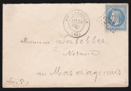 France - Lettre N° 29 Obl 1870 - Cachets: Losange 3520 / Sainte Bazeille / Marmande / Mas D´agenais - 1849-1876: Période Classique