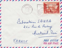 GABON 1958 - 20 F Sondermarke Auf LP-Brief Von Libreville > Montreuil Paris - Gabun (1886-1936)